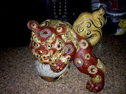foo dog lion pair of japanese ornate yellow foo dogs lions