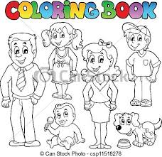 vectors illustration coloring book family collection 1 vector