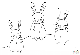 kawaii bunnies coloring page free printable coloring pages