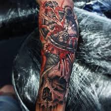 attractive death clock and skull sleeve tattoo designs