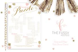 crossword puzzle baby shower game diy printable game instant