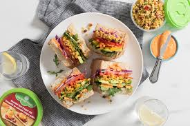 cuisine uilibr vegetable rainbow sandwich with roasted pepper dip summer fresh