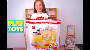 Deluxe Kitchen Play Set by Kids Cooking U0026 Playing With Kitchen Toys Velcro Cutting Fruit