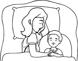 mother and child sleeping in bed family coloring page wecoloringpage