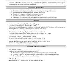 teacher resume summary of qualifications exles for movies objective english teacher resumele language download nursing