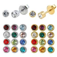 studex earrings 12pairs fashion silver gold studex birthstone ear studs piercing