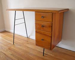 Small Mid Century Desk Furniture Mid Century Modern Desk With White Wall Design And