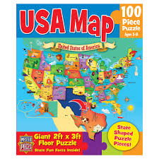 Usa Puzzle Map by Masterpieces Wood Fun Facts Forest Friends Puzzle Hayneedle