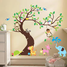Owl Room Decor Wall Decals For Nursery Tree Oversize Jungle Animals Tree Monkey