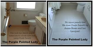 painting tile in the bathroom with chalk paint the purple