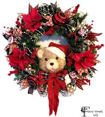 teddy wreath with poinsettia berries and optional