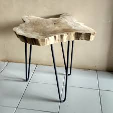 teak root table iron hairpin legs erosion teak root wood