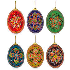 2 5 set of 6 painted wooden ukrainian easter egg ornaments