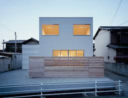 modern white wall architecture house small with warm lamp can add
