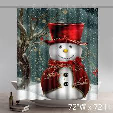 Funny Bathroom Gifts Print Christmas Gifts Snowmen Waterproof Bathroom Shower Curtains