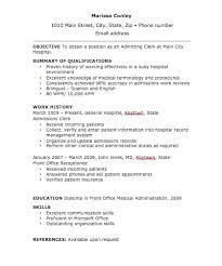 Clerical Resume Sample by Admissions Clerk Cover Letter