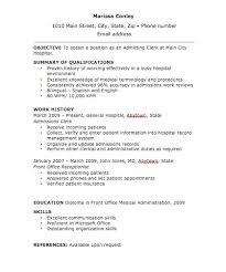 Billing Clerk Resume Sample admissions clerk cover letter
