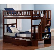 atlantic furniture ab56612 woodland twin over twin staircase bunk