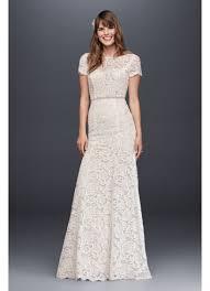 lace wedding dress with short illusion sleeves david u0027s bridal