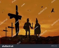 crucifixion jesus christ warriors silhouette during stock vector