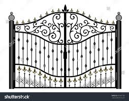 black metal gate forged ornaments on stock vector 675067138