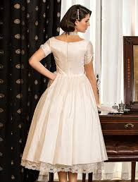 a line princess v neck tea length taffeta wedding dress with lace