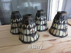 Stained Glass Ceiling Fan Light Shades Lot Of 4 Vintage Stained Glass L Shades Ceiling Fan Or Sconce