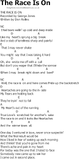 country song lyrics with chords the race is on
