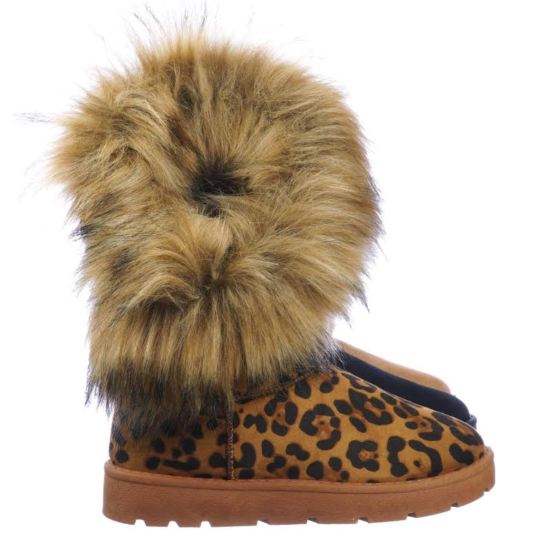 Frozen01 Asymmetrical Faux Fur Mukluks Winter Cozy Boots, Tan Brown / Brown / 7.5