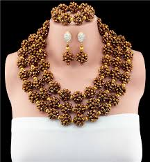 gold crystal beaded necklace images Gold african beads jewelry set nigerian wedding jewelry sets three jpg