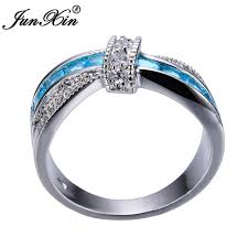 fashion cross rings images Junxin light blue cross ring fashion white black gold filled jewelry jpg