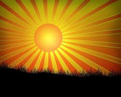 a clip of a sun with rays shining and silhouette of grass