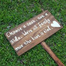 Wedding Seating Signs Choose A Seat Not A Side Handpainted Wooden Wedding Seating Sign