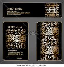 set black gold business cards header stock vector 308485097