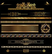 luxurious golden ornaments elements free vector in encapsulated