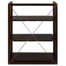 casual home citiscape warm brown 3 shelf folding stacking bookcase