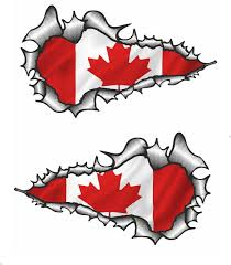 long pair ripped torn metal design with canada canadian flag motif
