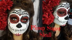 pinup red and black glitter sugar skull halloween makeup tutorial