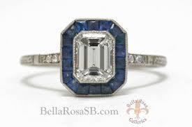 elegant emerald cut diamond vintage antique platinum engagement