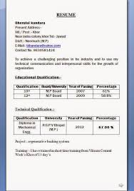 mechanical diploma resume format for freshers