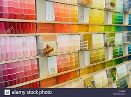 Paint Chips by Selection Of Color Coded Paint Chip Samples On A Display Shelf In