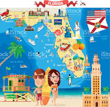 Clearwater Florida Map by Cartoon Map Of Florida Stock Vector Art 472352945 Istock