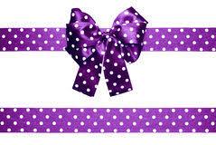 and white polka dot ribbon violet bow and ribbon with white polka dots made from silk stock