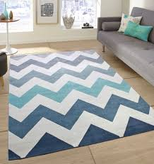 Large Modern Rug Soft Touch Modern Stripes Zig Zag Flowers Grey Teal Blue