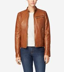 moto jacket burnished lamb leather band collar moto jacket in pecan cole haan