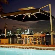 outdoor dining umbrella light with rectangular shapes patio