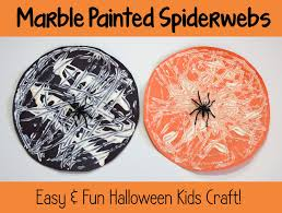 Fun And Easy Halloween Crafts by Halloween Kids Craft Marble Painted Spiderwebs
