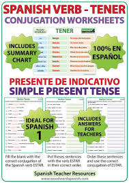 tener u2013 spanish verb conjugation worksheets u2013 present tense