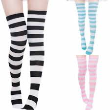 thigh high wide stripe the knee socks cotton