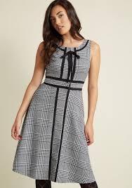 retro tailored a line dress with trim modcloth
